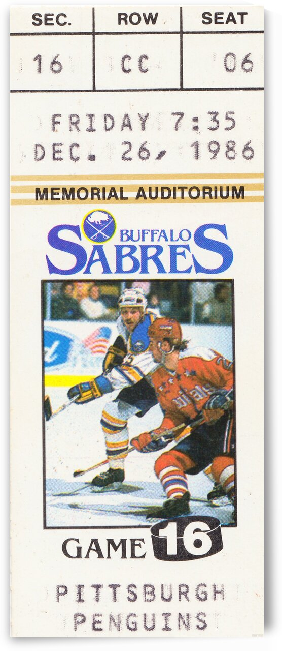 1986 buffalo sabres pittsburgh ticket by Row One Brand