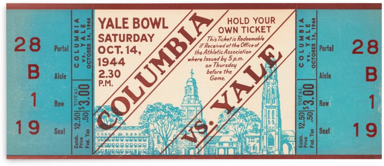 1944 columbia yale ticket by Row One Brand