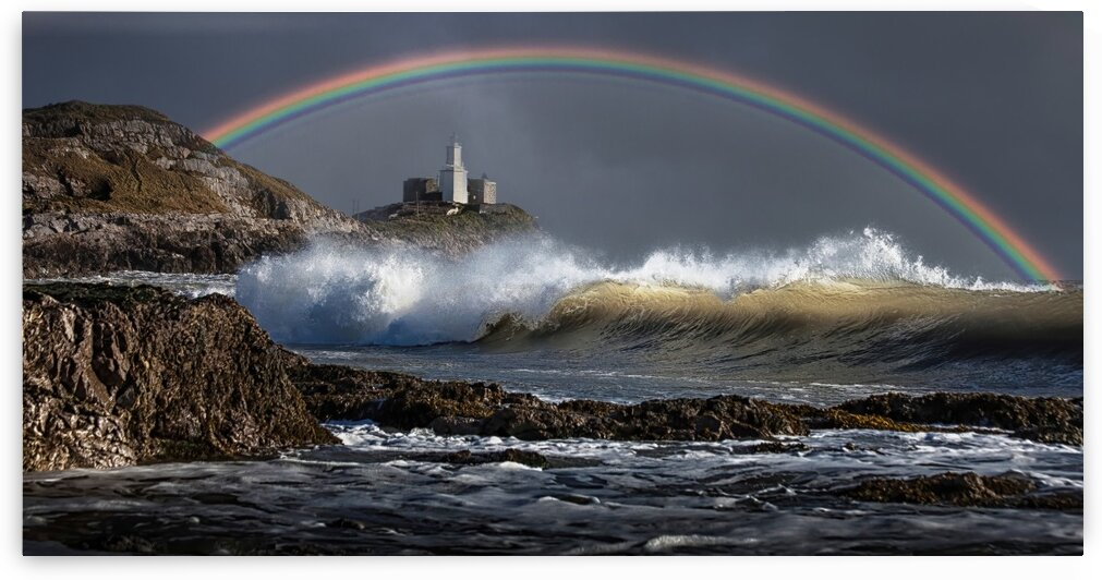 Rainbow over Mumbles lighthouse by Leighton Collins
