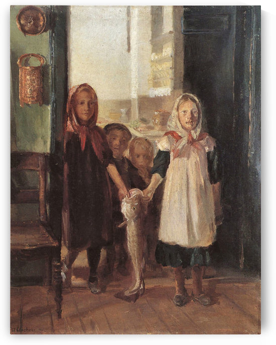 Little girl with a cod by Anna Ancher by Anna Ancher