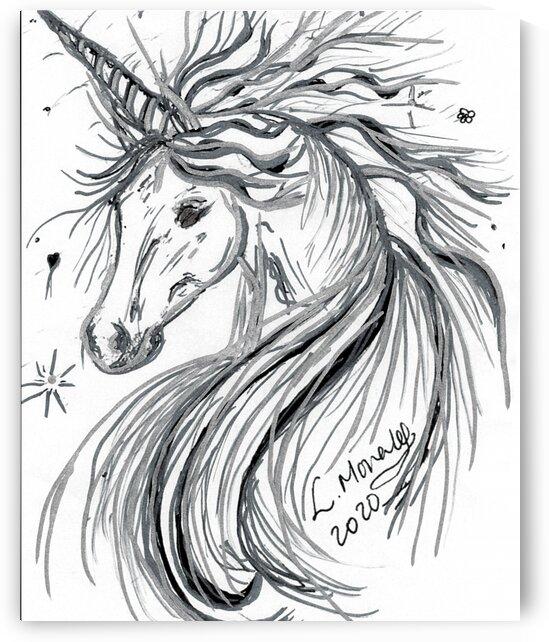 black and White Unicorn Canvas picture by LeGustavienne