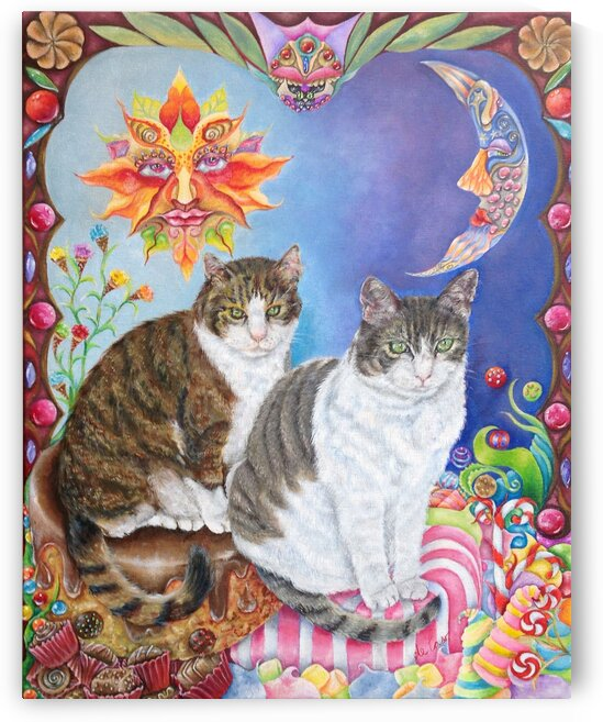 The cats Bombon y Chocolate by deCaso Art