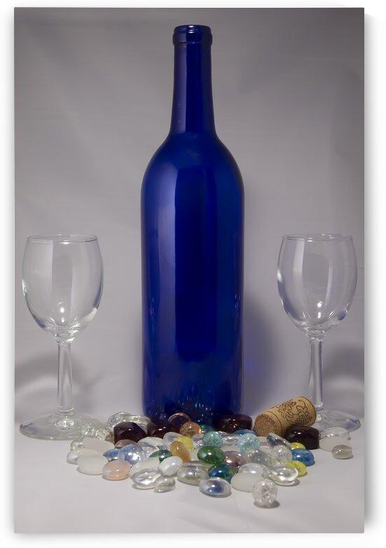 Blue Wine Bottle by Jacqueline Sleter