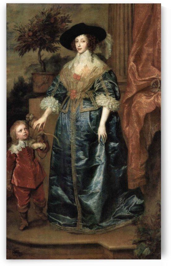 Portrait of Queen Henrietta Maria, with a dwarf by Van Dyck by Van Dyck