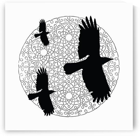 Three birds over a circular design by James M Gallagher