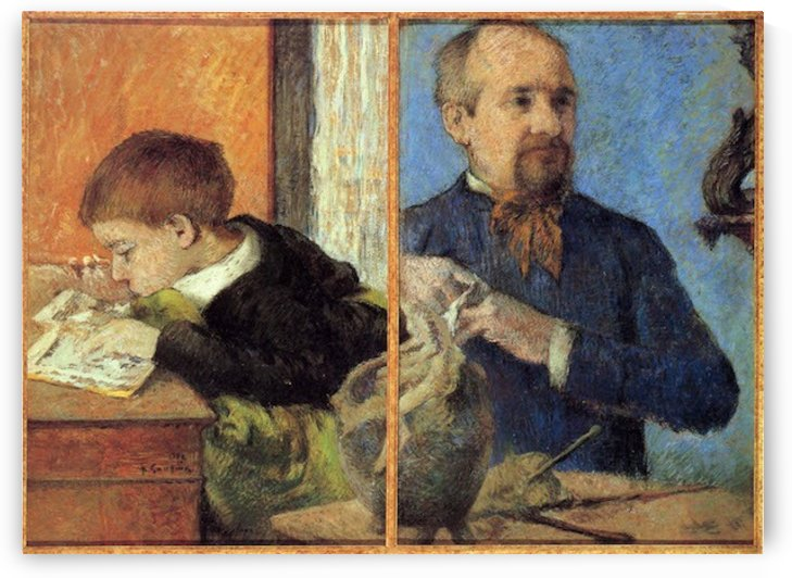 Portrait of Sculptor with Son by Gauguin by Gauguin