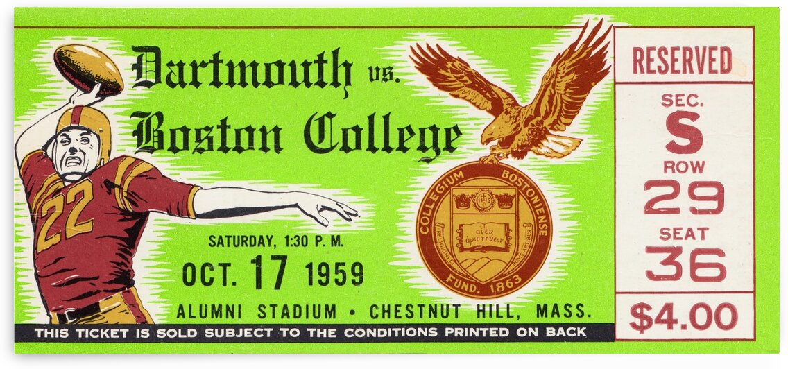 1959 Boston College vs. Dartmouth by Row One Brand