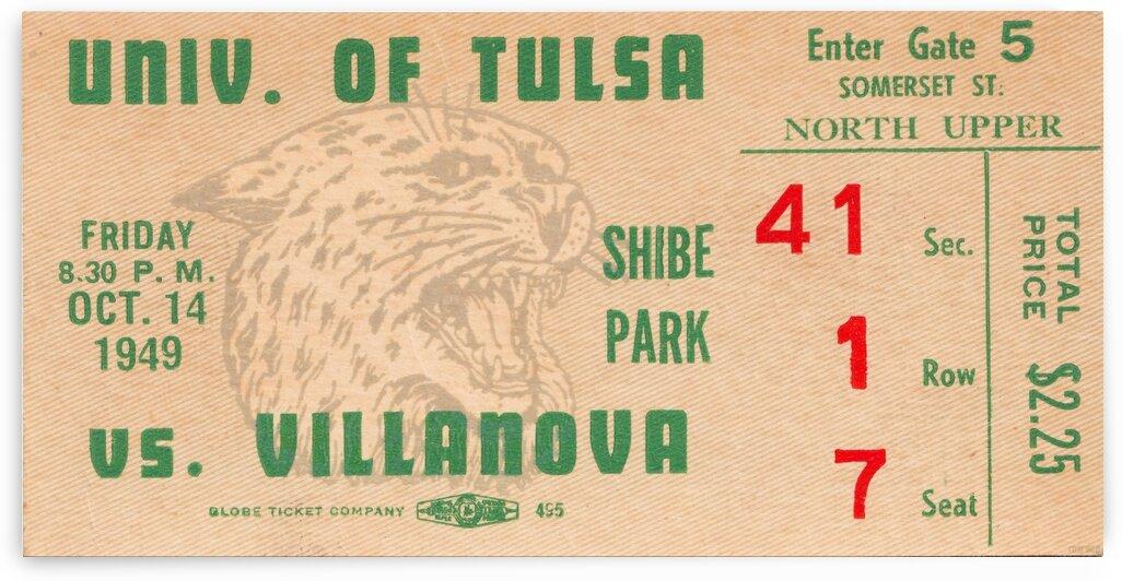 1949 Tulsa vs. Villanova Football Ticket Stub Wall Art by Row One Brand