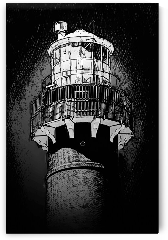 Lighthouse in a nighttime storm black and white by James M Gallagher