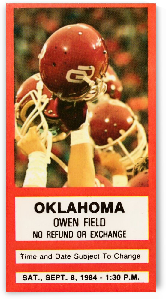 1984 Oklahoma Sooners Football Ticket Wall Art by Row One Brand
