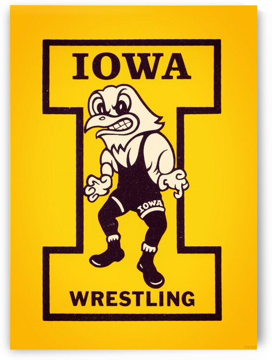 Vintage Iowa Wrestling Art by Row One Brand