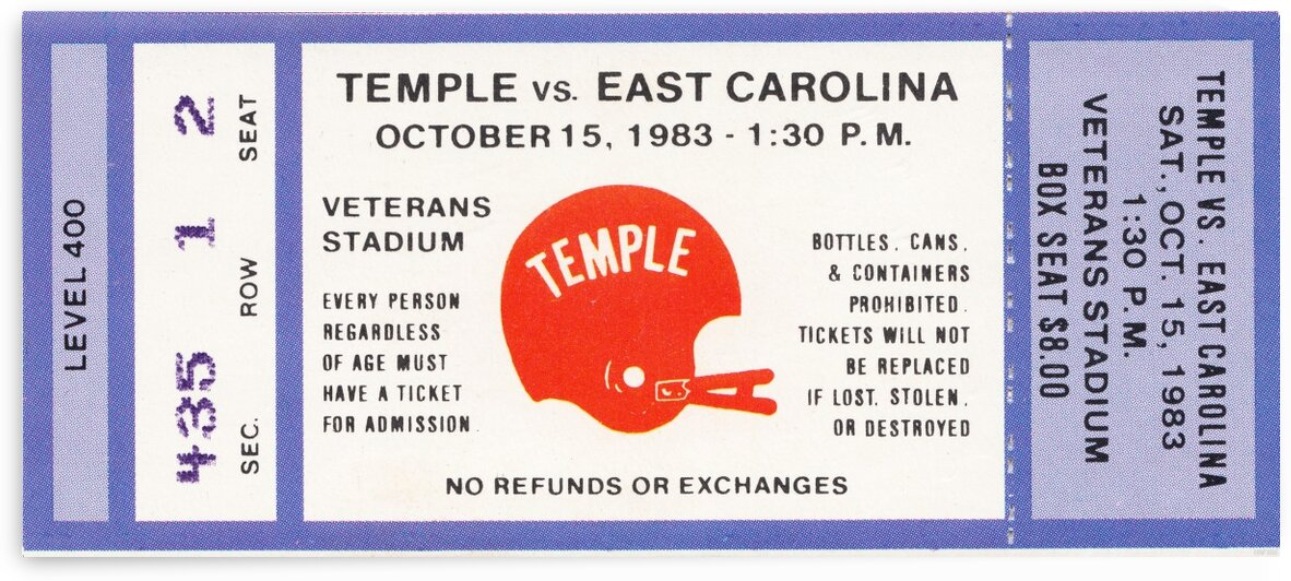 1983 Temple vs. East Carolina by Row One Brand