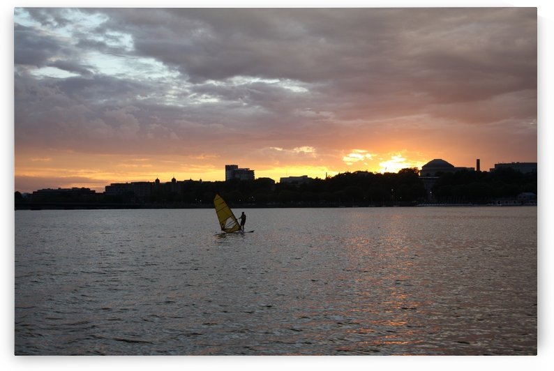 Sunset Sailboarding on the Charles River by Five14Photography