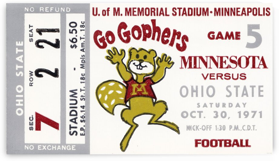 1971 Minnesota vs. Ohio State by Row One Brand