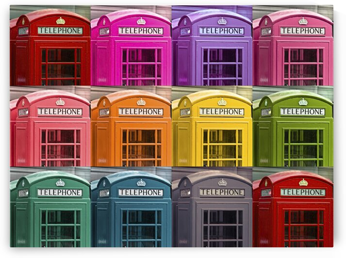 Multicoloured telephone boxes by Assaf Frank