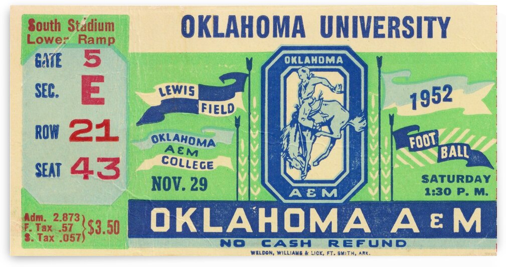1952 Oklahoma vs. Oklahoma State by Row One Brand