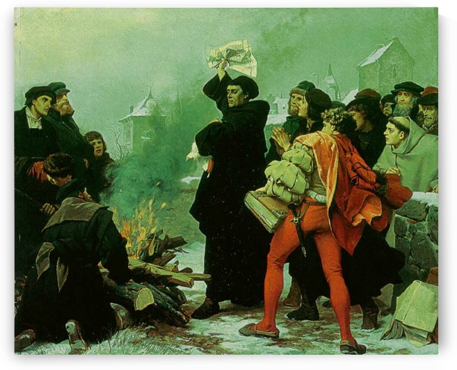 Luther verbrennt die Papstbulle by Friedrich Paul Thumann