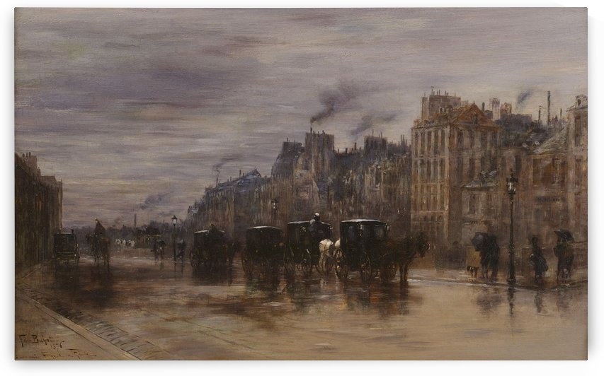 Winter morning, on the shore near Hotel Dieu by Felix Buhot