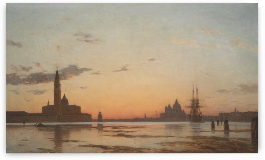 The San Marco canal at dusk in Venice by Amedee Rosier