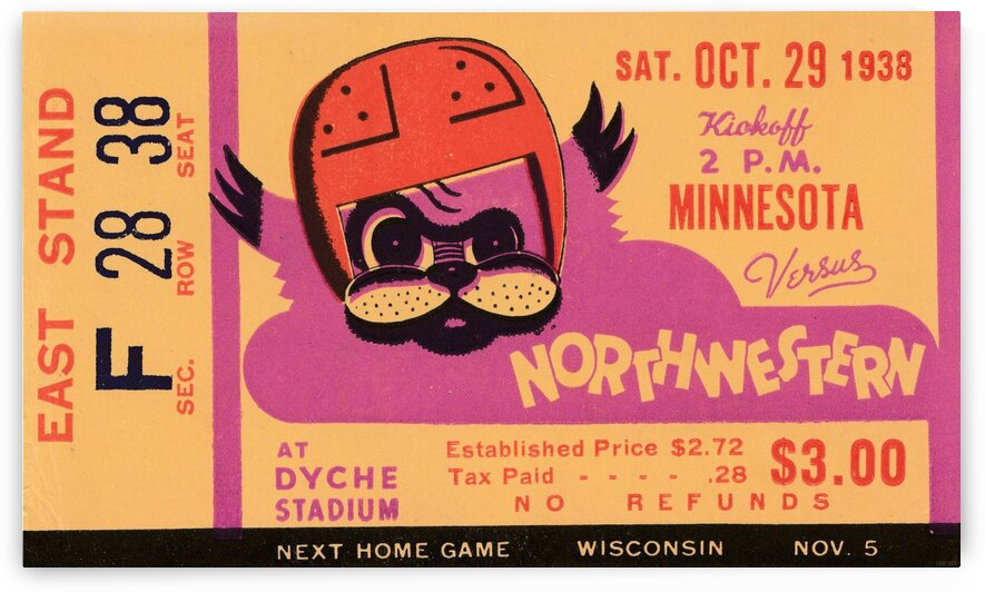 1938 Northwestern vs. Minnesota by Row One Brand