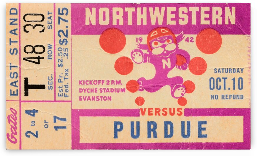 1942 Northwestern vs. Purdue by Row One Brand
