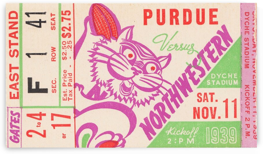 1939 Purdue vs. Northwestern by Row One Brand