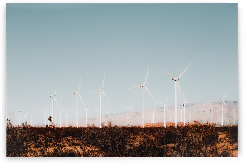 Wind turbine in the desert with summer blue sky at Kern County California USA by TimmyLA