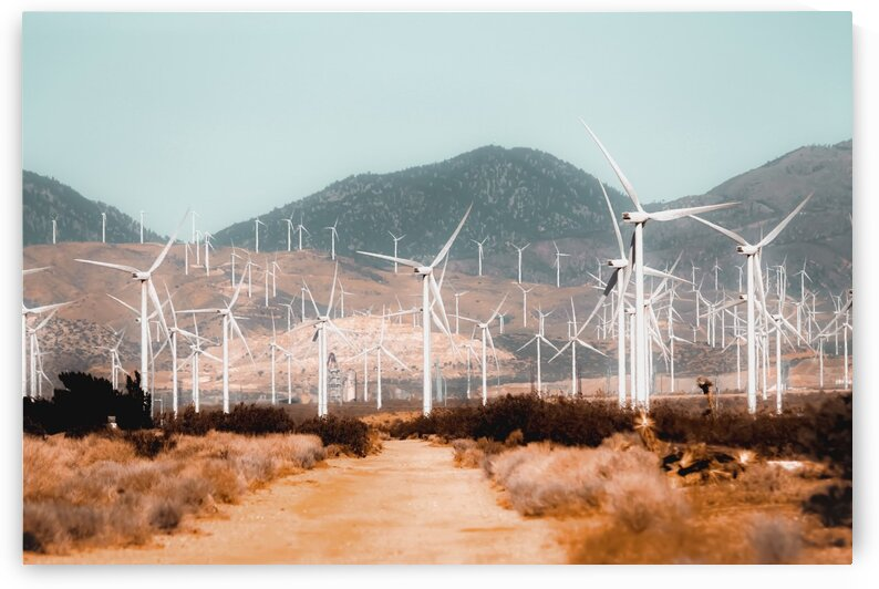 Wind turbine in the desert with mountain background at Kern County California USA by TimmyLA