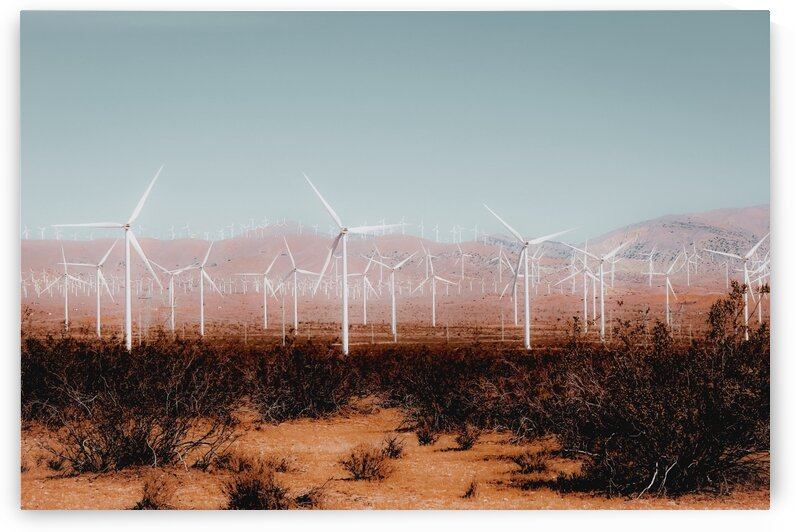 Wind turbine in the desert and mountain view at Kern County California USA by TimmyLA