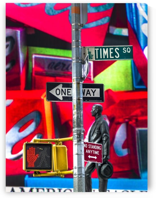 Road signs on traffic signal, New York by Assaf Frank