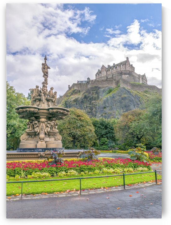 The Ross Fountain and Edinburgh Castle, Scotland by Assaf Frank