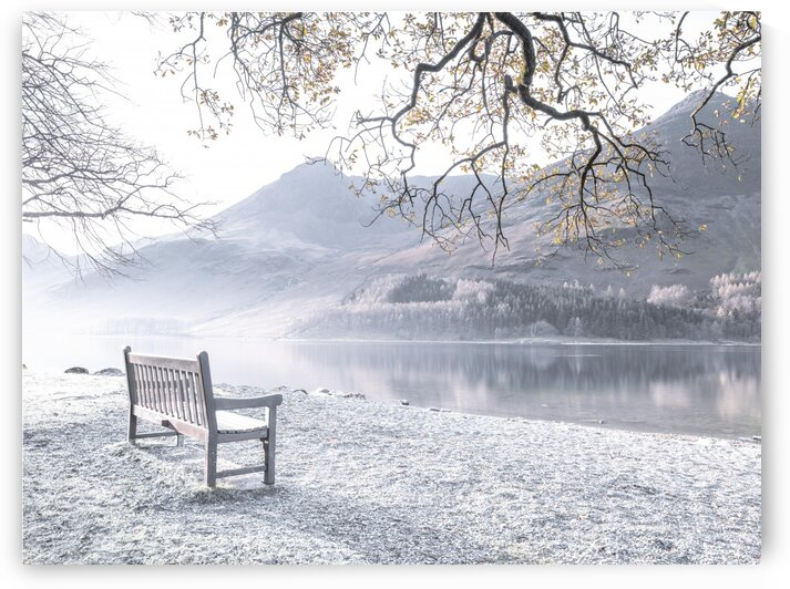 Bench and still lake, Buttermere, Lake District, UK by Assaf Frank