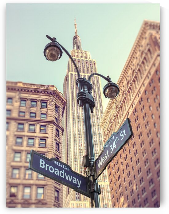 Street lamp and street signs with Empire State building in background - New York by Assaf Frank