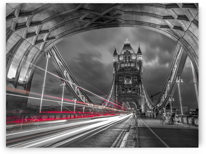 Tower bridge with strip lights, London, UK by Assaf Frank