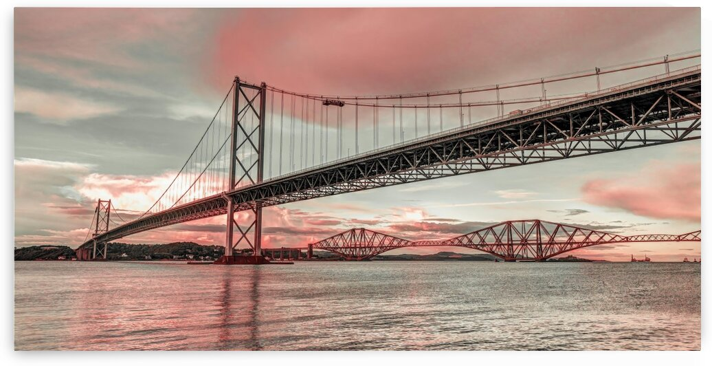 Forth Road Birdge at dusk by Assaf Frank