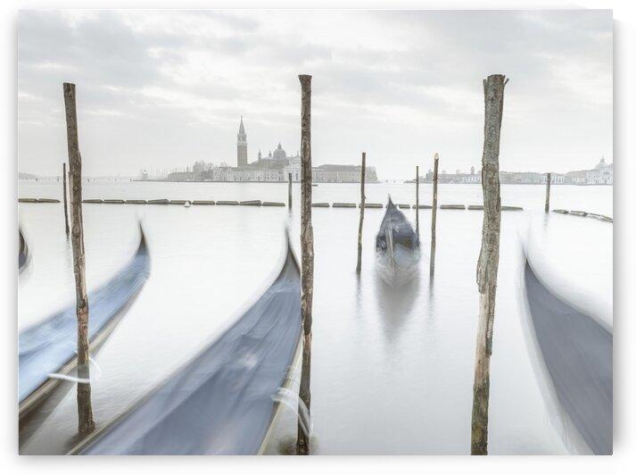Gondolas in lagoon, Venice, Italy by Assaf Frank