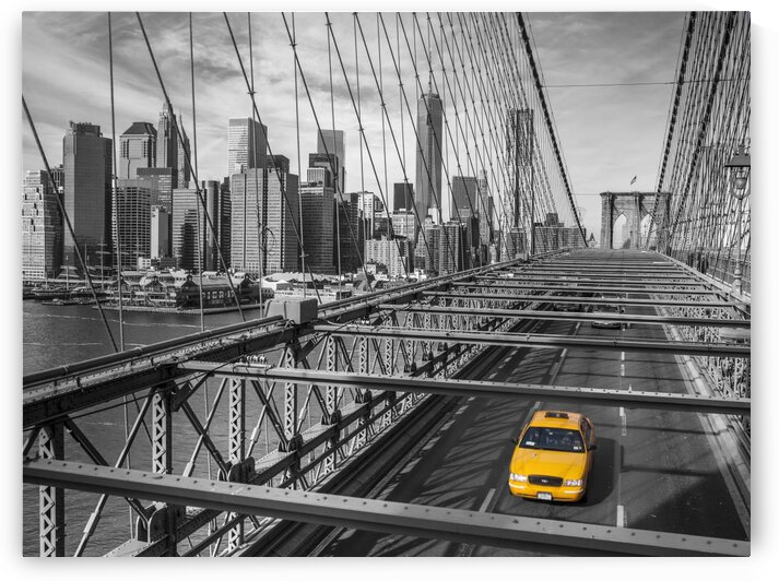 Cab on Brooklyn Bridge, Manhattan, New York by Assaf Frank
