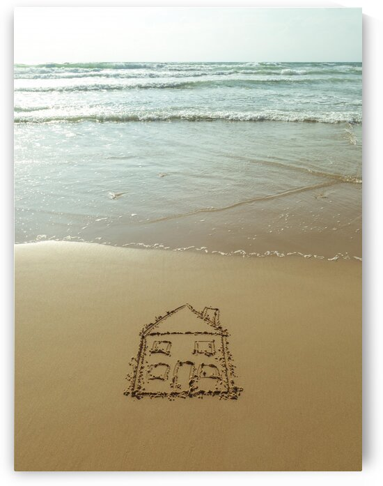 Sweet home drawn on sand at the beach by Assaf Frank