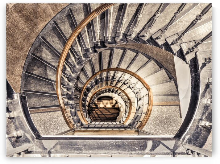 Spiral staircase from above in a building, Birmingham, UK by Assaf Frank