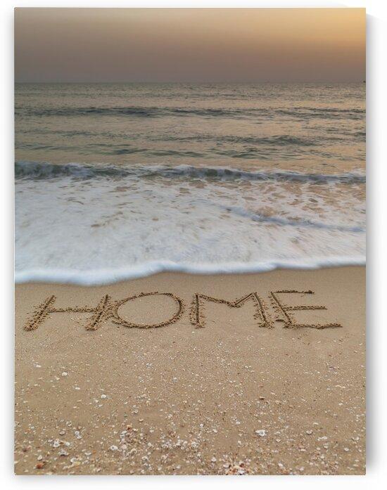Sand writing - Word Home written on beach by Assaf Frank