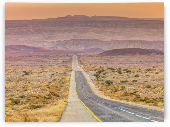 Highway through desert by Assaf Frank