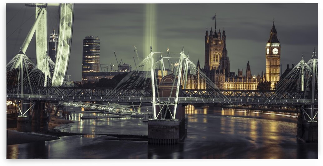 Night view of the London Eye, Golden Jubilee bridge and Westminster, London, UK by Assaf Frank