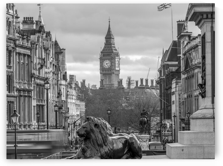 Trafalgar Square with Big Ben in background by Assaf Frank