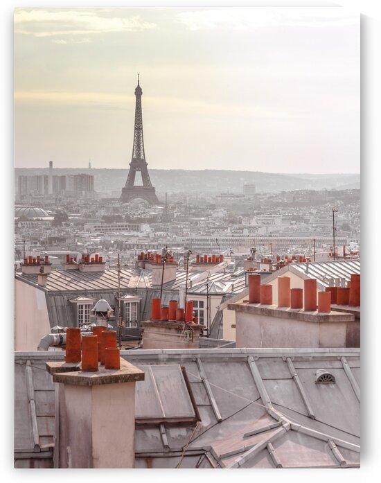 Eiffel Tower seen through the window of an apartment in Montmartre, Paris, France by Assaf Frank