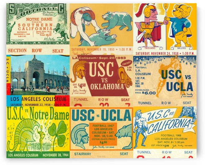 USC Trojans Football Ticket Stub Collage by Row One Brand