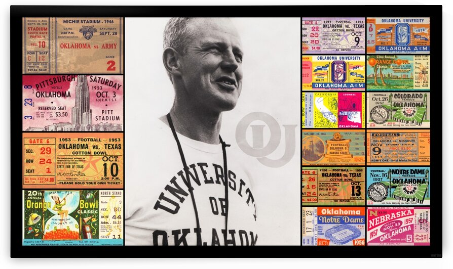 Oklahoma Football Bud Wilkinson Ticket Collage by Row One Brand
