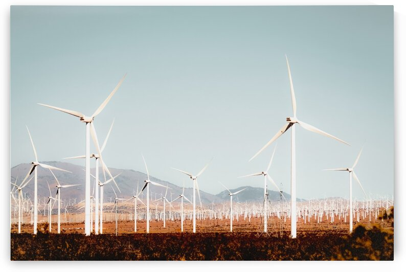 Wind turbine with mountain background in the desert at Kern County California USA by TimmyLA