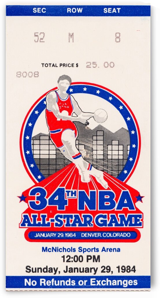1984 NBA All-Star Game Ticket by Row One Brand