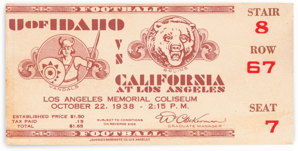 1938 Idaho vs. UCLA by Row One Brand