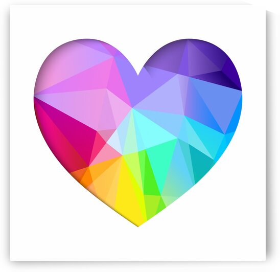 Rainbow low poly heart paper cut by Aquamarine